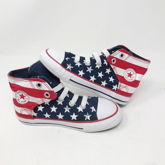 Converse All Star American Flag USA Junior Sz 10 NWT